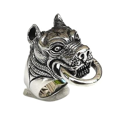 Pitbull Dog Head Silver Ring