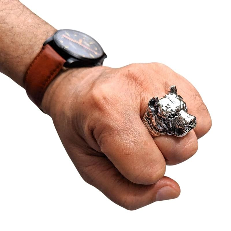 Sterling Silver Pitbull Dog Biker Rings