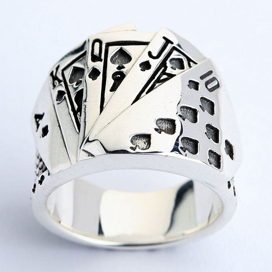 Silver Playing Card Poker Rings