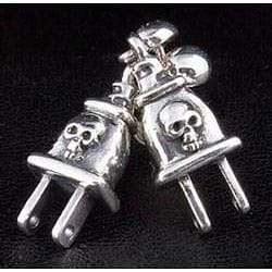 sterling silver plug skull earrings