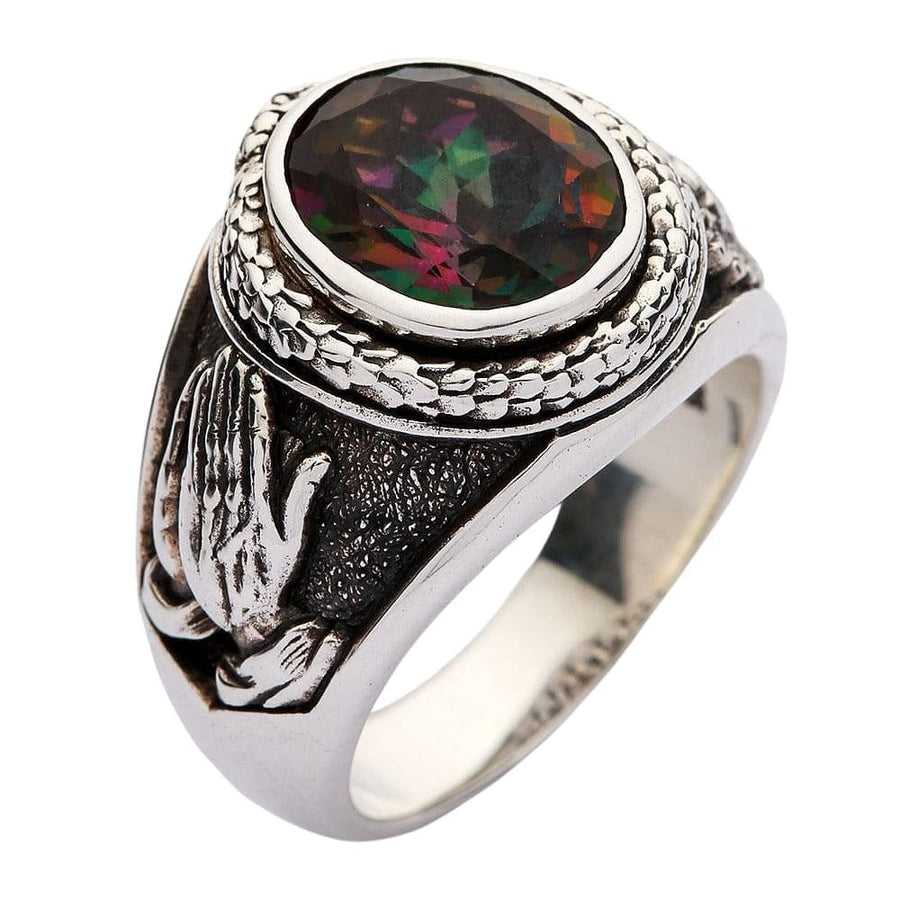 silver mystic topaz praying hands ring