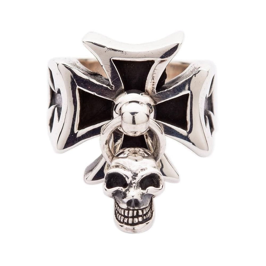 silver punk dangle skull ring
