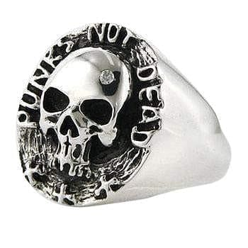 sterling silver skull punk ring
