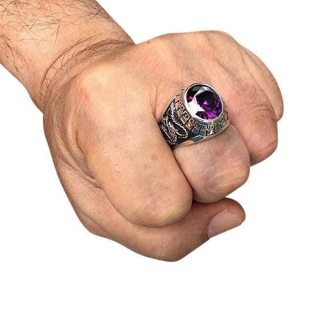 dragon mens ring on hand