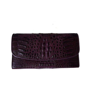purple women's crocodile skin purse