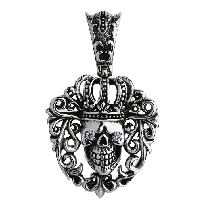 Diamond Queen Crown Skull Pendant