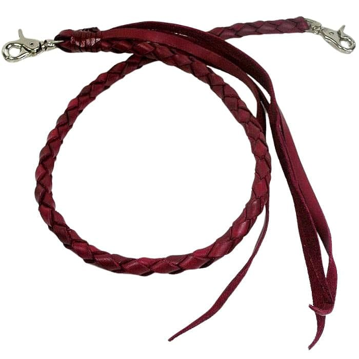 red burgundy genuine leather wallet chain