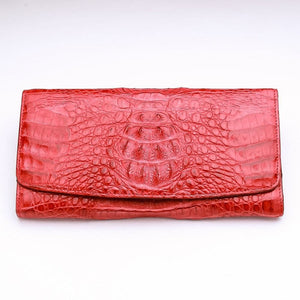 red trifold crocodile leather laides wallet