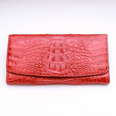 Red Crocodile Hornback Leather Ladies Wallet