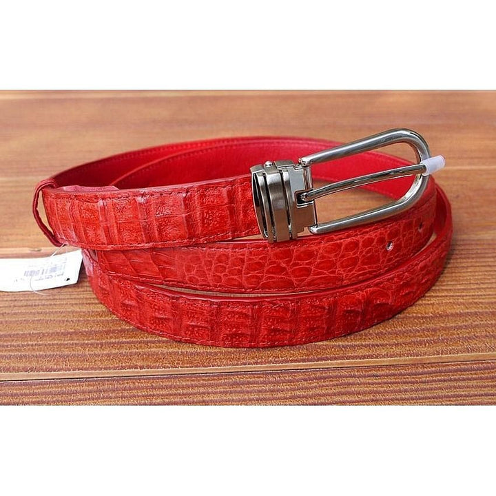 Red Crocodile Leather Womens Belt
