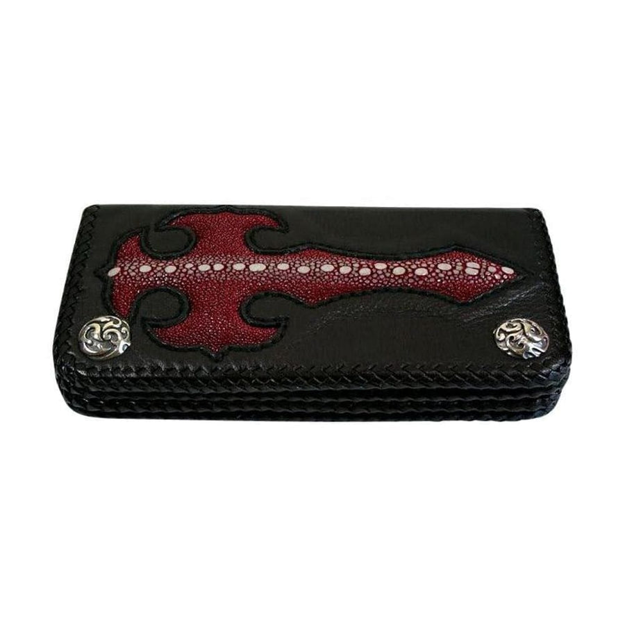red cross stingray skin chain wallet