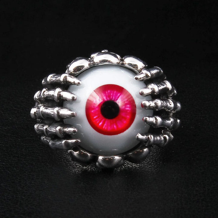 sterling silver red eye gothic ring