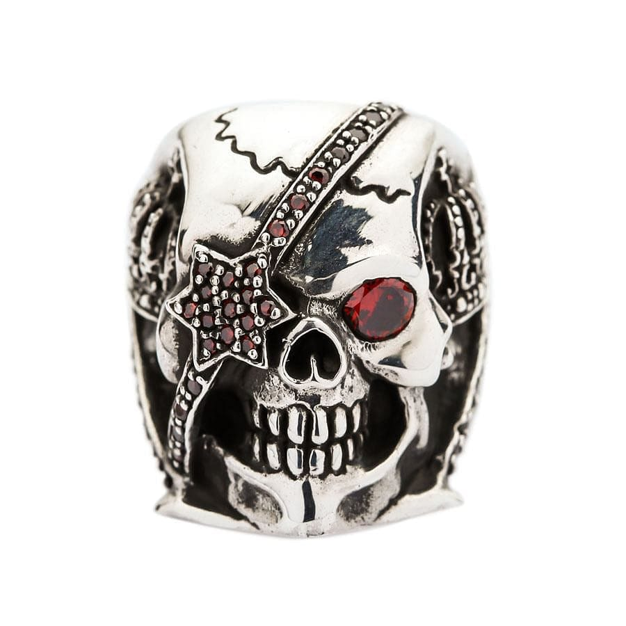 silver garnet eye pirate skull ring