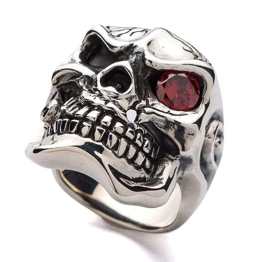 red garnet men's silver ring