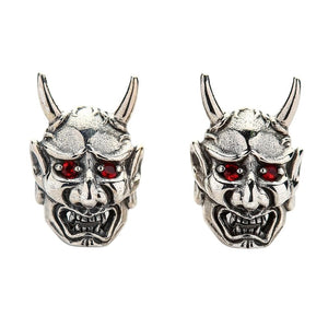 Red Eyes Japanese Skull Oni Mask Earrings