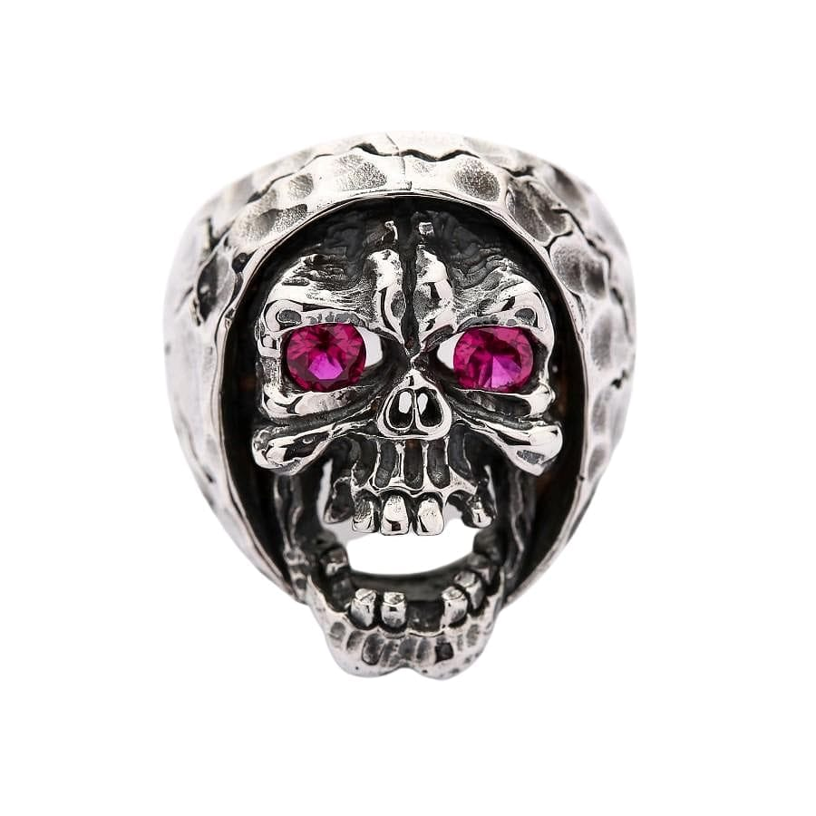 sterling silver red eyes skull devil ring