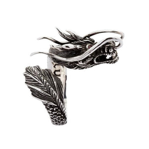 røde øjne sterling sølv dragon ring