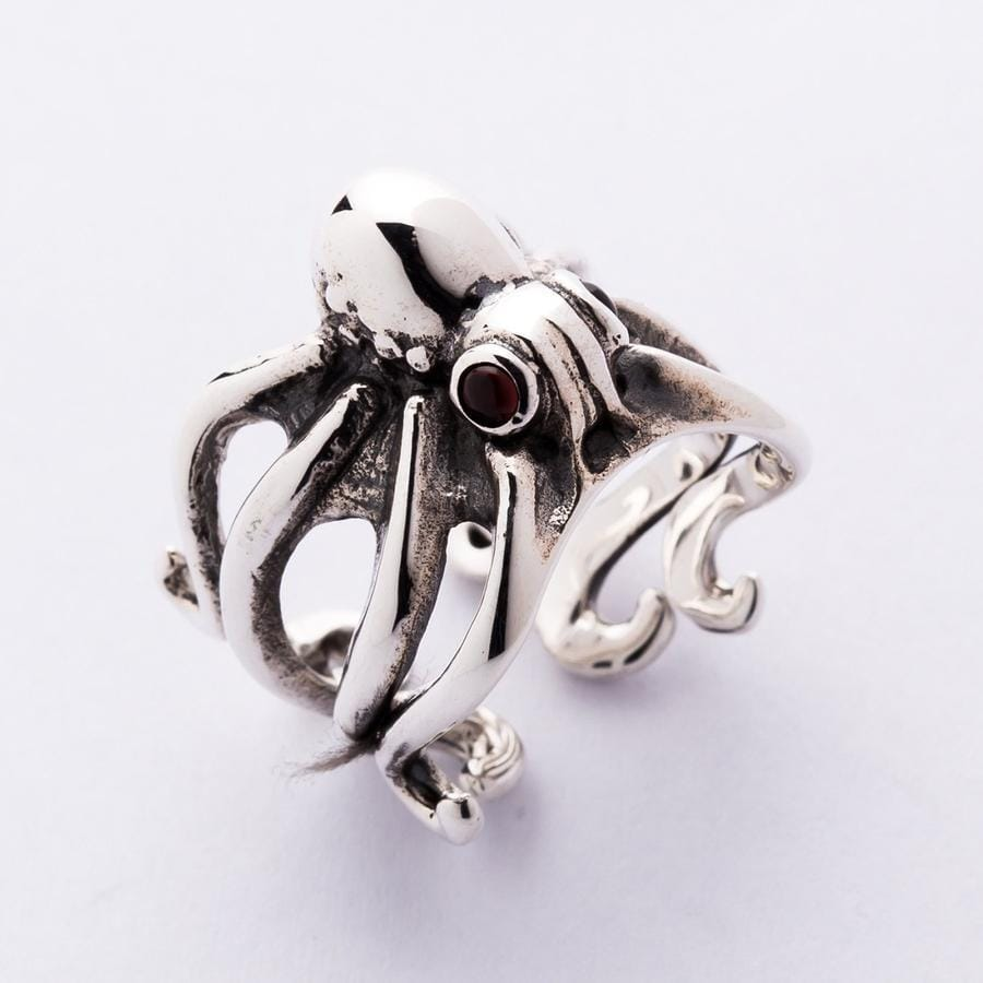 Red Eyes Sterling Silver Octopus Ring