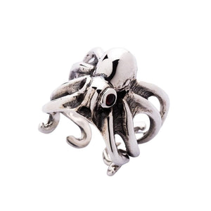 red eyes octopus silver ring