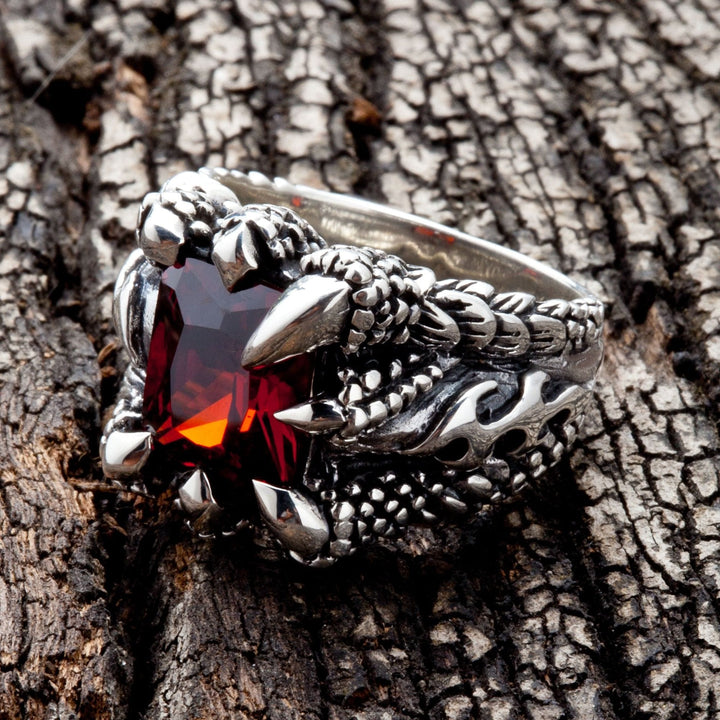 Red Garnet Claw Gothic Ring