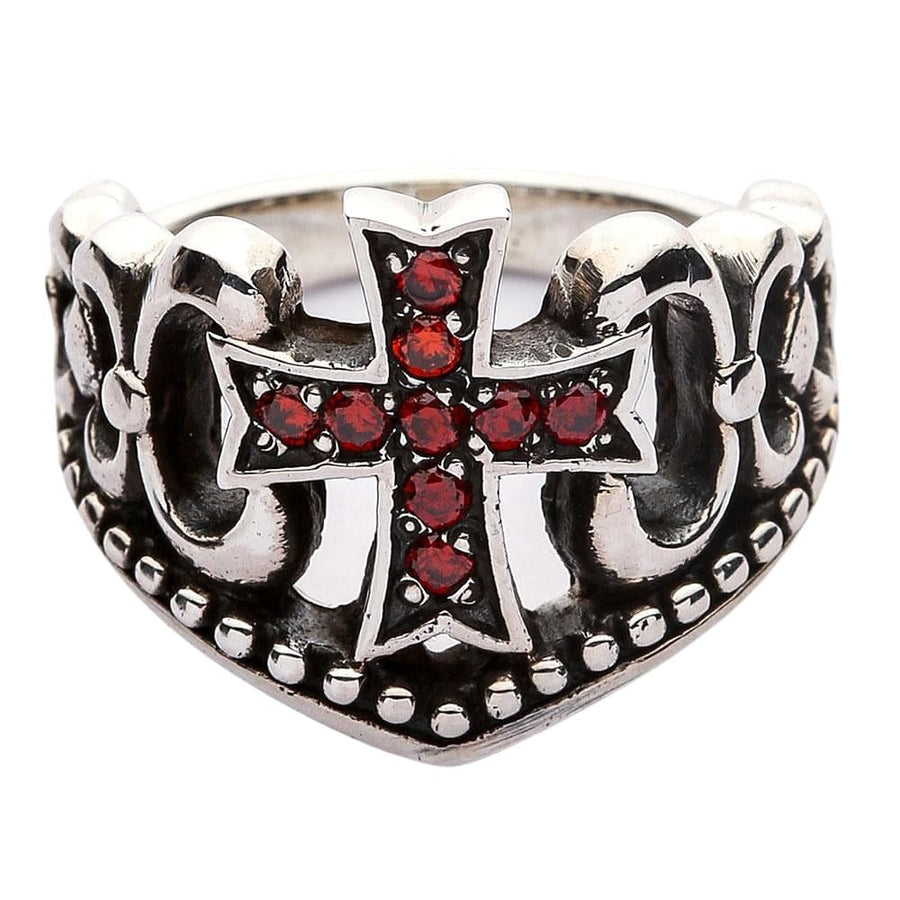 Red Garnet Cross Ring