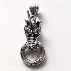 sterling silver red garnet eyes dragon head pendant