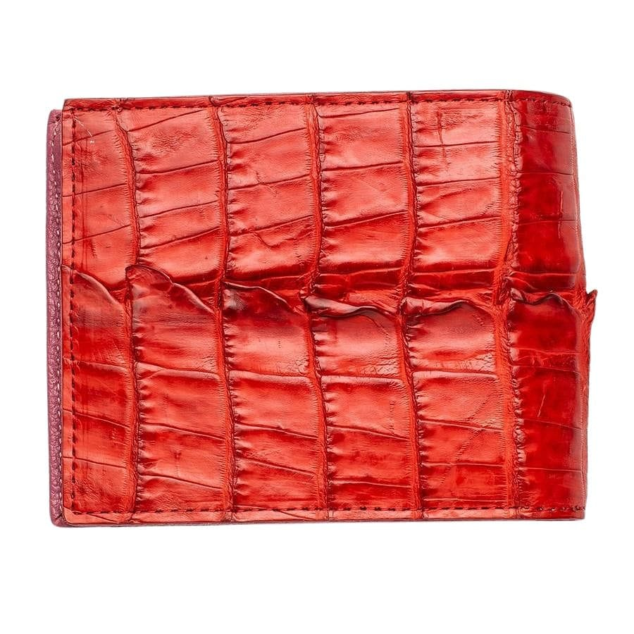 Red Genuine Crocodile Tail Mens Wallet