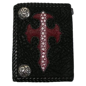 row stingray inlaid men's leather wallet