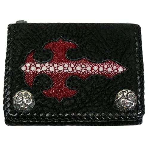red stingray skin gothic cross biker wallet