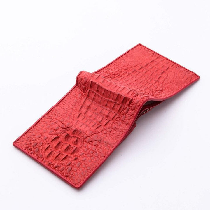 red hornback crocodile leather wallet