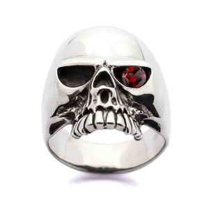 Red Ruby Eyes Skull Rings