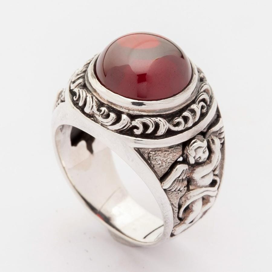 Red Cabochon Stone Sterling Silver Cupid Love Ring
