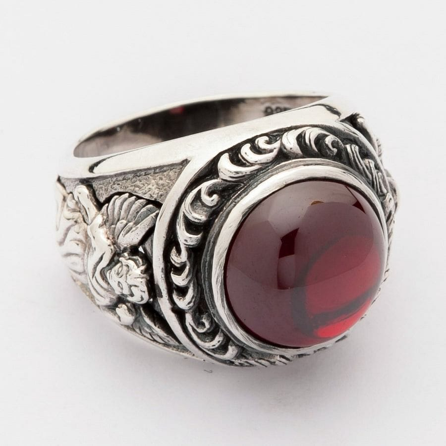Love Silvers: Red Cabochon Stone Sterling Silver Cupid Love Ring
