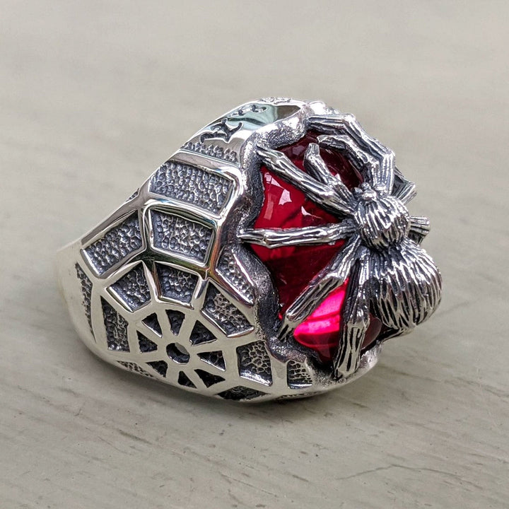 sterling silver red stone spider ring