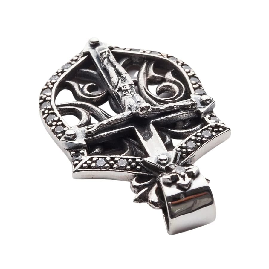 Rocker Jesus Silver Mens Cross Pendant