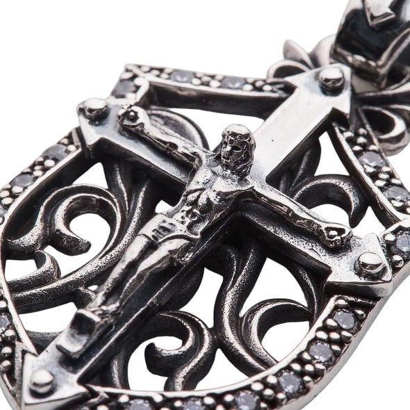 Rocker Jesus Silver Mens Cross Pendant-Bikerringshop
