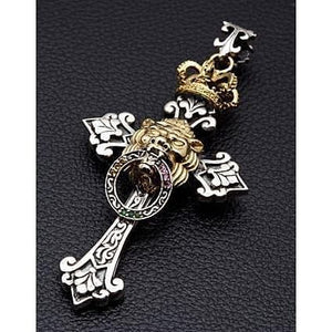 royal lion cross pendant