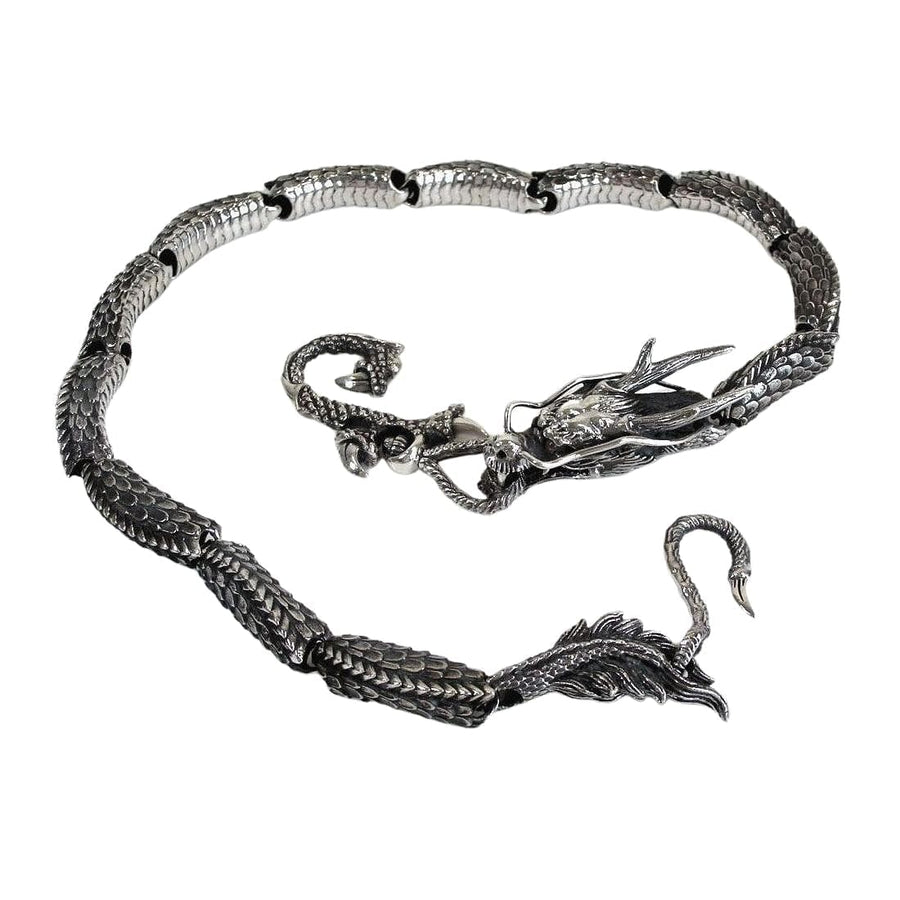 Japanese dragon sterling silver wallet chain