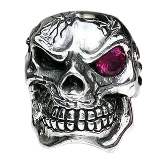 Ruby Red Eye Skull Ring