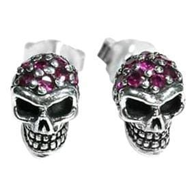 ruby skull earrings