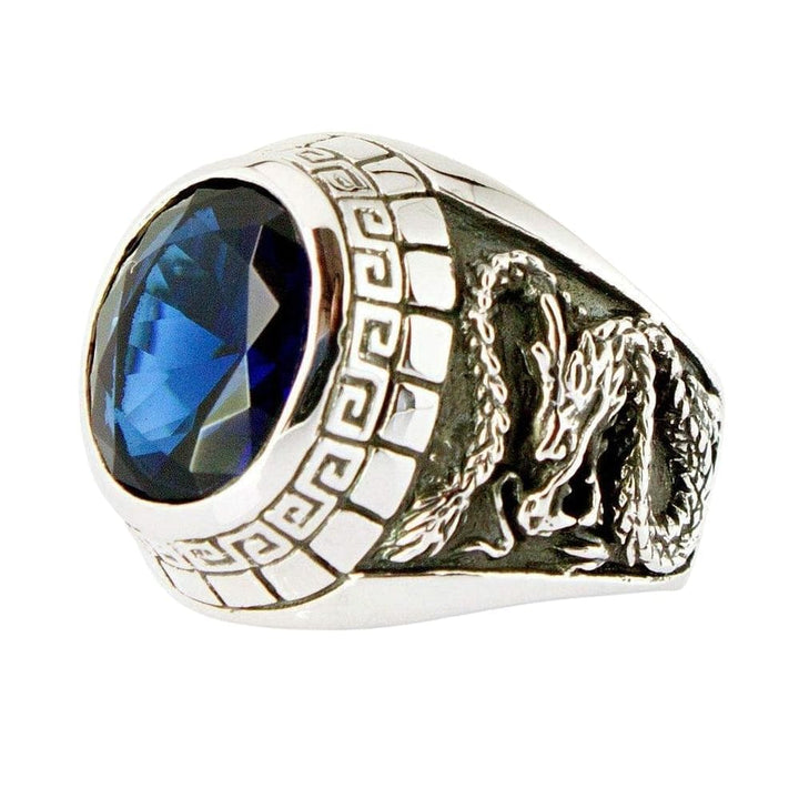 Sterling Silver Japanese Tiger Dragon carved Mens Sapphire Ring