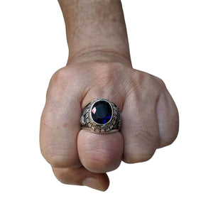 Sapphire Japanese Tiger Dragon Mens Ring