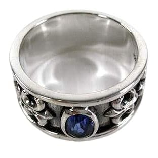 Sterling Silver Sapphire Mens Rings