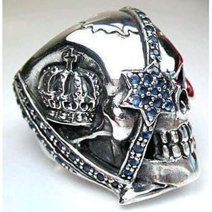 crown designer pirate skull ring