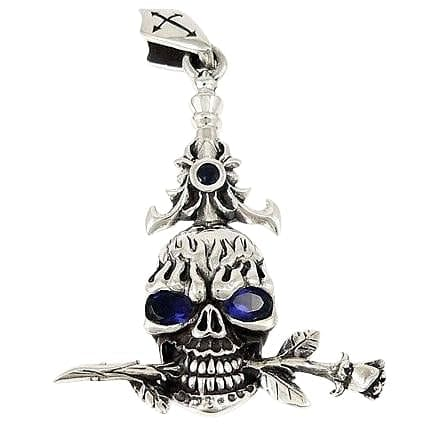 blue eyes skull and rose pendant