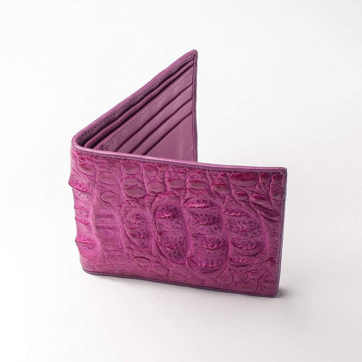 pink natural genuine crocodile skin leather wallet