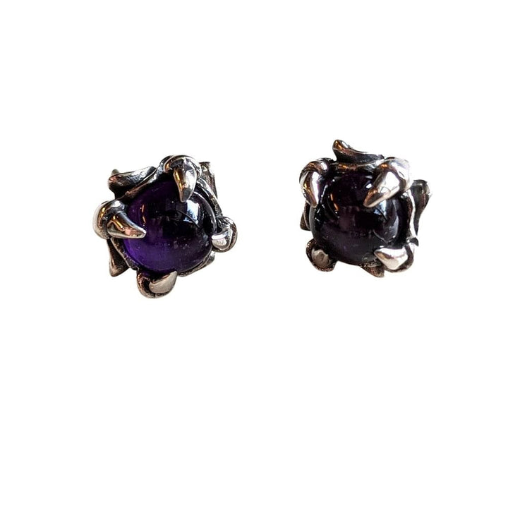 Silver Amethyst Claw Stud Earrings