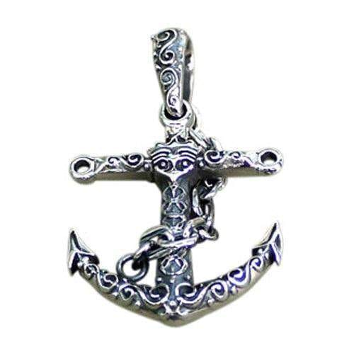 Sterling silver viking anchor pendant bikerringshop silver anchor pendant aloadofball Images