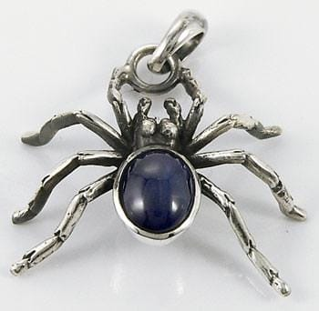 sterling silver blue stone spider pendant