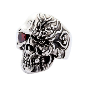 sterling silver cyborg skull ring